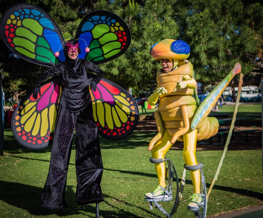 Adelaide Roving Stilt Walkers Gringo Grasshopper and Betsy Butterfly