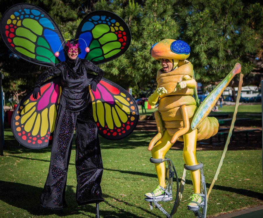 Adelaide Roving Stilt Walkers Gringo Grasshopper and Betsy Butterfly